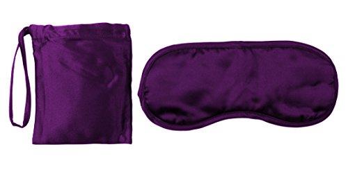 Schlafbrille, Augenbinde aus weicher Seide, Gratis Tasche und Bonus ebook | violette Nachtmaske fürs Flugzeug | Schlafmaske