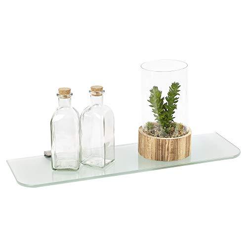 URBNLIVING geschwungene, schwebende Glas-Regale mit Milchglas-Optik, in 2 Größen erhältlich, Large (60x18cm)