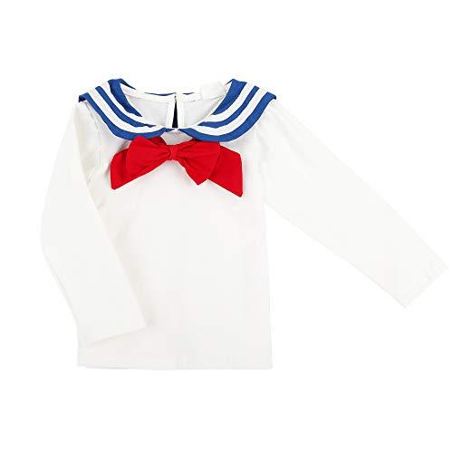 Baby Kleinkind Jungen Mädchen Baumwolle Langarmshirt Seemann Matrosenkragen Schleife Knopfverschluss Langärmelige T-Shirts Frühjahr Herbst - Weiß Größe 100