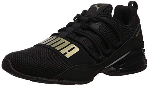 PUMA Men's Cell Regulate Woven Sneaker, Black-Metallic Gold, 11