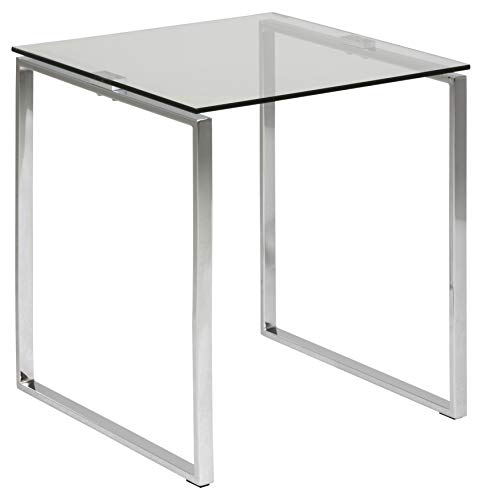 Amazon Brand - Movian Somes End/Side Table with Glass Table Top, 50 x 50 x 55 cm, Tempered Glass/Chrome Base