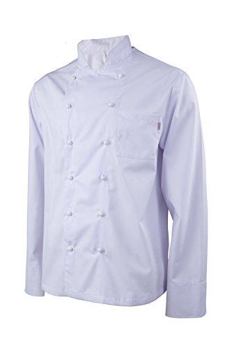 Clinotest Kochjacke weiß mit Farbiger Paspelierung (S, Weiß)