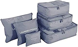 Grey 6 PCS Travel Storage Bags Set Clothes Tidy Packing Cubes Luggage Organizer Pouch Waterproof t High Quality Oxford Mesh Cloth Travel Bag Organizer