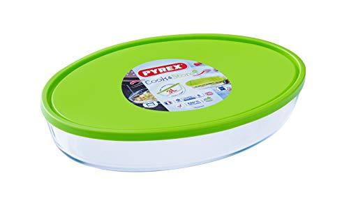 Pyrex FTE Oval PX con Tapa Verde 35X24CM 3L Fuente para horno, Vidrio borosilicato, Multicolor