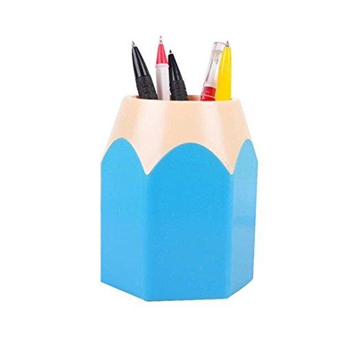 Clode, creativo penna trucco pennello matita vaso cancelleria contenitore da scrivania Height:10.5cm,Width:7.5cm Blue