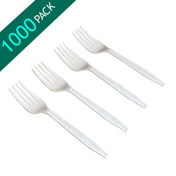 Deluxe Cafe Express Heavyweight Plastic Forks 1000 Pack