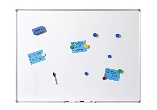 Dahle Basic Whiteboard (Beschreibbare Magnettafel in stabilem Alurahmen, 90 x 120 cm)