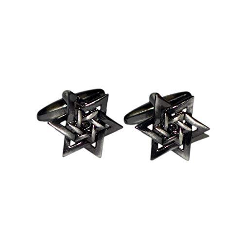 Gemelolandia | Boutons de Manchette de Chemise double étoile de David acier noir | Pour Hommes et Garçons | Cadeaux Pour Mariages, Communions, Baptême