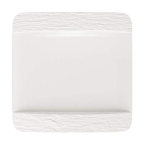 Villeroy & Boch - Manufacture Rock blanc Speiseteller quadratisch, eleganter Essteller aus Premium Porzellan, spülmaschinengeeignet, weiß