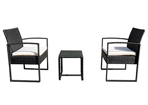 REDI GROUP Set da Giardino 2 Poltrone + Tavolino, Rattan Nero Intrecciato a Mano, Cuscini Ecrù, 3 Pz Mobili da Esterno per Balcone, Giardino, Bar, Ristorante