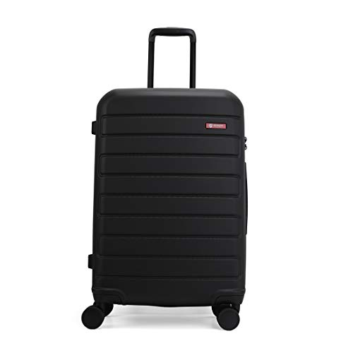 GinzaTravel Hardside Spinner, Carry-On, Wear-resistant, scratch-resistant Suitcase Luggage with Wheels (20-inch, Black color)