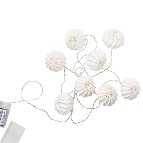 Butlers Hanami Lichterkette Weiß 260cm - Beleuchtungskette mit LED-Lampions - Strahlende Dekoration mit 8 Leuchten