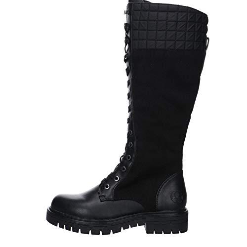 Rieker Damen Stiefel, Frauen Klassische Stiefel, leger Boots langschaftstiefel gefüttert reißverschluss,schwarz,38 EU / 5 UK