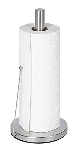 WENKO 53210100 Küchenrollenhalter Clayton, Edelstahl rostfrei, 15 x 33 x 15 cm, Silber matt