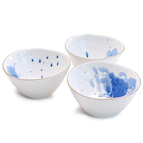 Werner Voss Schale 'Splash' 3-er Set Müslischale Reisschale Dessertschale Blau Weiß mit Goldrand Porzellan modern Design
