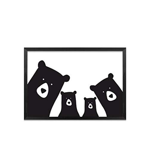 Fangyuan Leuke beerfamilie dier canvas schilderij zwart wit cartoon poster druk Nordic muurschildering kunst kinderkamer kinderkamer wooncultuur / 50x70cm zonder lijst