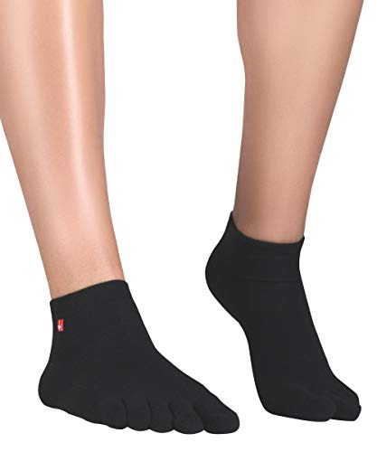 Knitido Zehensocken Track and Trail Ultralite Unisex Sportsocken Herren schwarz und weiß für Sport und als Schutz in Zehenschuhen, Größe:43-46, Farbe:Schwarz