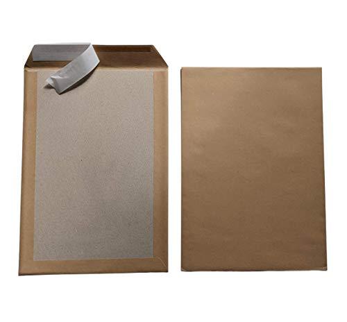 50 sobres B4 A4 marrón con dorso de cartón, autoadhesivos, 110 g/m², tamaño 250 x 353 mm, sobres