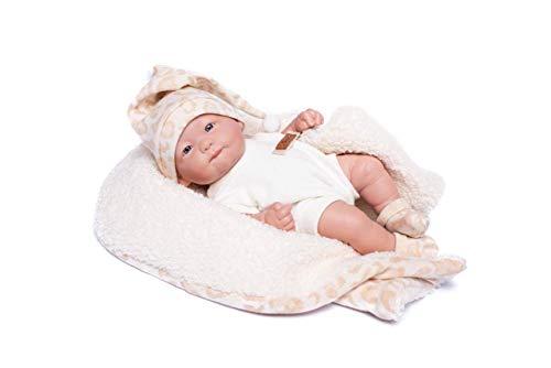 Muñecas Guca- MUÑECA Recien Nacido con Pelele Y Manta DE Borreguito BEIG. 25CM, Multicolor (931)