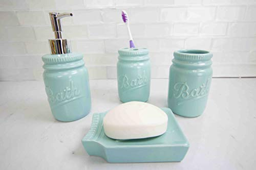 Home Basics (Mint Gift & Home Basics Beautiful Rose 4 Pcs Dolomite Mason Jar Durable Bath Accessory Set-Decorative Lotion Dispenser/Dish/Tumbler/Toothbrush Holder Perfect Gift & Decorating Idea