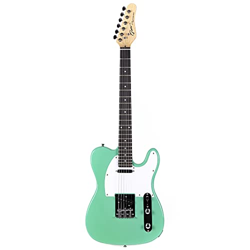 Grote Electric Guitar Solid Body Tele Style Guitar Full-Size Basswood Body with Canadia Maple neck Chrome Hardware Picks(Green)