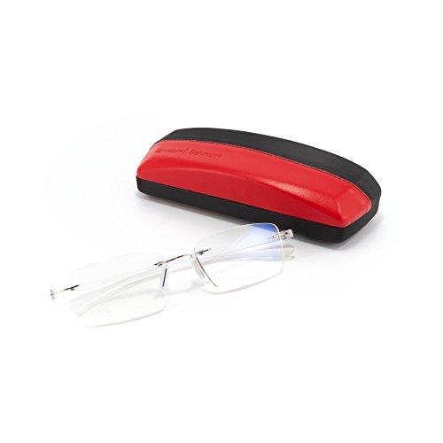 MIDI-ミディ ふちなし老眼鏡と良質メガネケースセット ブルーライトカット 紫外線カットレンズ マットホワイト (M-307N,C1,+2.50)