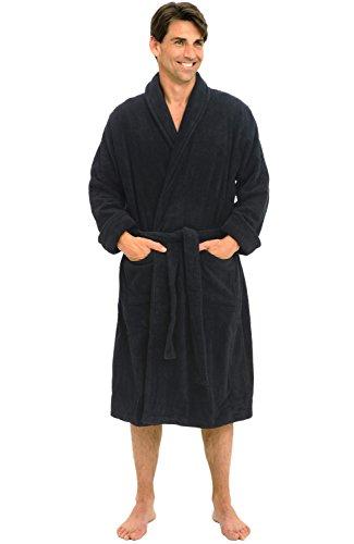 Alexander Del Rossa Mens Turkish Terry Cloth Robe, Thick Bathrobe, Small Medium Navy Blue (A0106NBLMD)