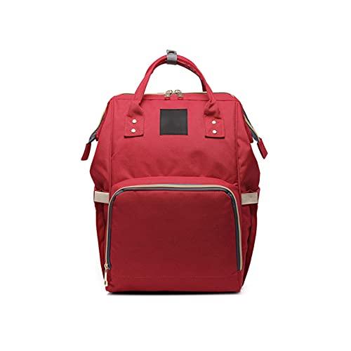 JBJB Maternity Nappy Bag, Baby Travel Diaper Bag Backpack, Large Capacity Folding Handbag (Red)