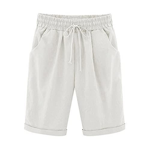 Bermuda Shorts Women Cotton Linen Elastic Waist Shorts Lounge Short Pants Plus Size Hot Pants with Pockets White