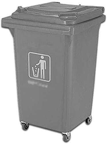 HFFFHA 60L Abfalleimer, Plastikroll Trash Can verdicken mit Deckel Es Trash Can High Capacity Außen Trash Can bewegen (Size : 60L)