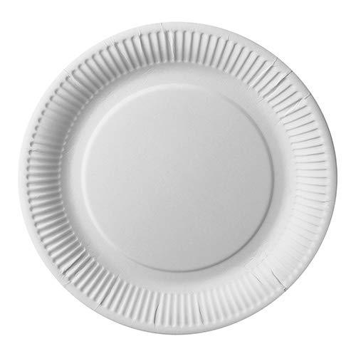 PAPSTAR 25 platos de cartón Pure redondos, diámetro 26 cm, color blanco, extrafuertes, recibirás 14 paquetes de 25 unidades (total 350 unidades)