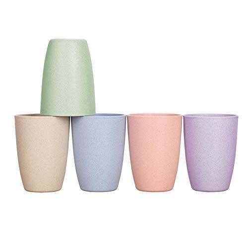 hengtaiwei 5 Piezas Taza de Paja de Trigo Reutilizable Irrompible (12 OZ), Bebida Taza de Bebida para Leche Jugo Agua, Tazas de Cepillo de Dientes para Niños Adultos