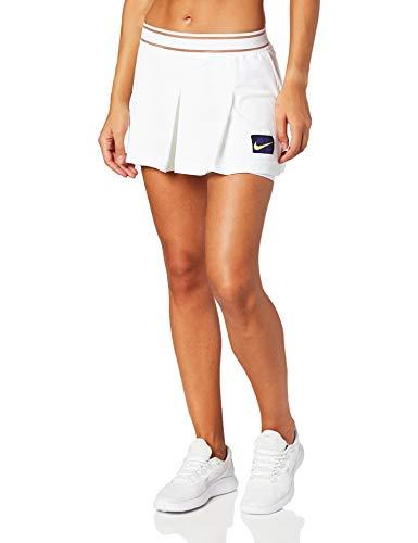 Nike W Nkct Slam Short NY NT, Pantalone Corto Donna, Bianco/Nero/Viola/Giallo Fluo (Court Purple/Volt), XS