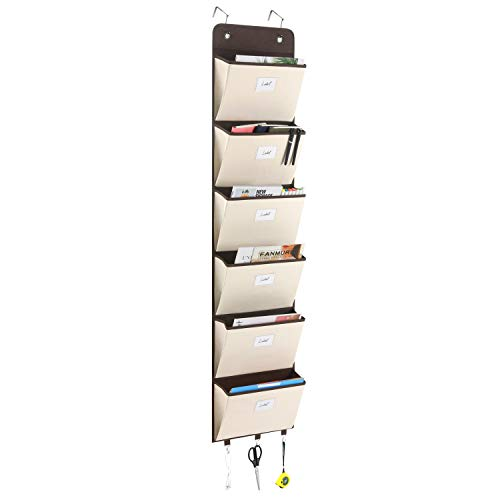 Magicfly Hanging Wall File Organizer, 6 Large Pockets Over The Door Mail Organizer Wall Mount Mail Organizer Holder File Folder Storage for Magazine, Notebooks, Planner, Beige