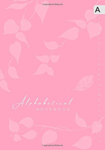 Alphabetical Notebook: B5 Lined-Journal Organizer Medium with A-Z Alphabet Tabs Printed | Cute Vine Leaves Design Light Pink