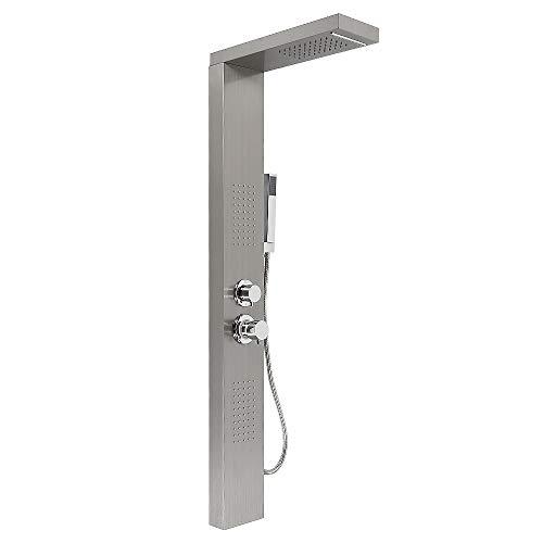 Columna de ducha,Hidromasaje,Panel de ducha, acero inoxidable con ducha de mano,Modos multiples (Color acero inoxidable)