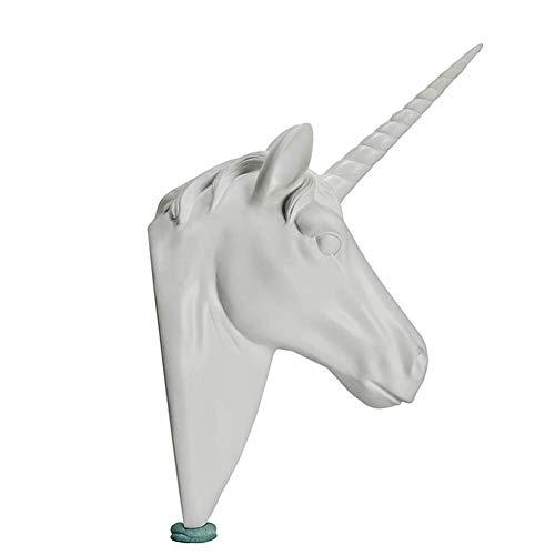 YGB Escultura, Estatua de Animal montada en la Pared, Cabeza de Caballo Simulación de Pared Unicornio Fondo de Pared Trofeo Creativo Adorno de Pared, Blanco