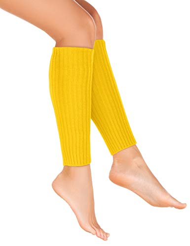 Balinco Strick-Stulpen | Beinstulpen | Damen & Mädchen Stuplen | Beinwärmer für den Alltag oder als Accessoire zum Karneval / Fasching (Gelb)