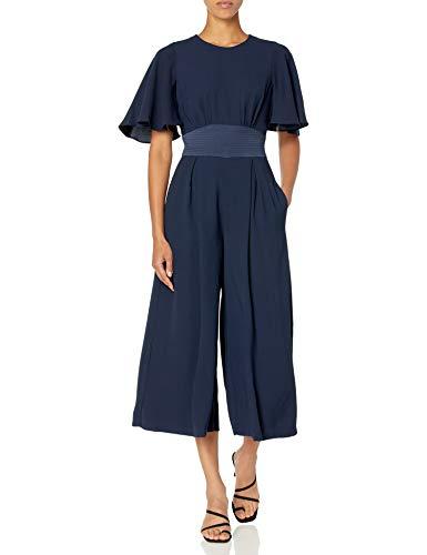 Eliza J Women's Flutter Sleeve Crop Jumpsuit Dresses, Navy, 12