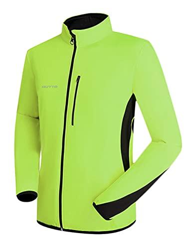 Bestgift Mens Ciclismo traje de hombre de forro polar para hombre otoño e invierno a prueba de viento y para hombre cálido más polar manga larga bicicleta hombre verde fluorescente XXXL