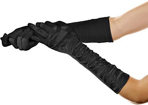 Balinco Lange Glamour Handschuhe in den Farben schwarz, weiß & rot zum 20er Jahre Damen Charleston Kostüm (Schwarz)