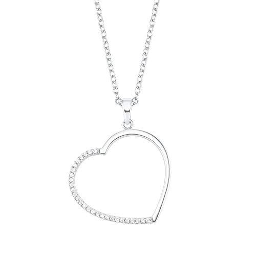 s.Oliver Ketten mit Anhänger für Damen, 925 Sterling Silber, Herz
