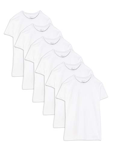 Fruit of the Loom Men's Stay Tucked Crew T-Shirt - X-Large - White (Pack of 6)