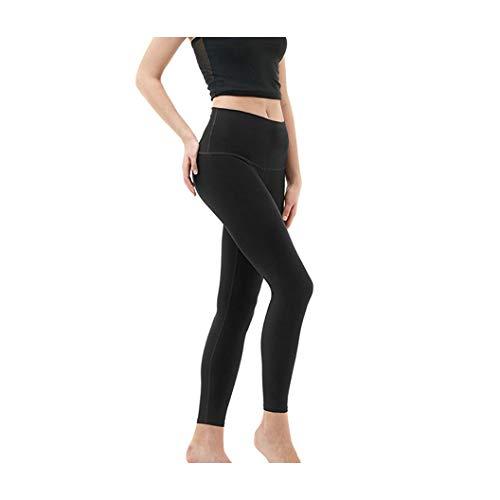 KKMAOAO Damen-Yogahose, modisch, Milchseide, enganliegend, hohe elastische Leggings, hohe Taille, schlankmachend, Fitness-Hose, schwarz, Sporthose, Sommer, Outdoor, wild, einfach, Damen, L, Farbe
