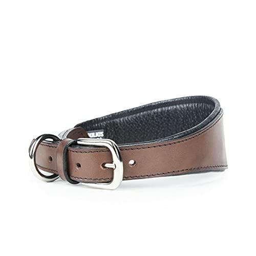 Collar para perros de piel de 65 mm x 40-49 cm, color marrón