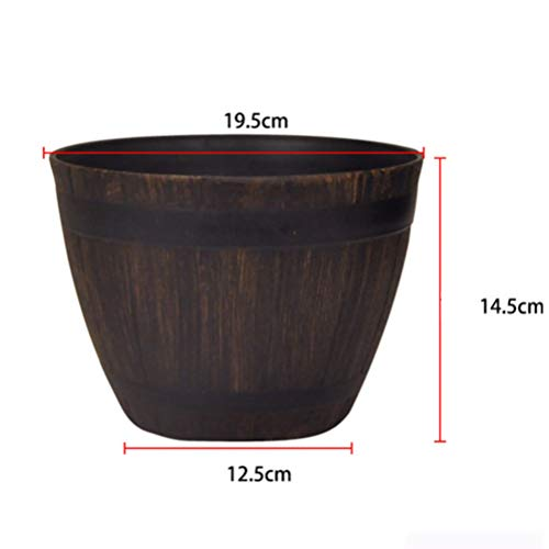 Yardwe Tree Pot Basin Extra Resin Imitation Rattan Wooden Barrel Outdoor Bonsai Garden Floor Flower Pot
