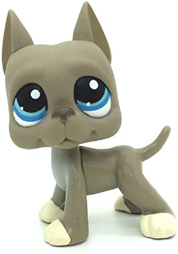 Gray Great Dane Dog Puppy Blue Eyes Cream Feet Mini Pet Shop - Little Pet Shop Puppy Action Figure Rare Old LPS Toys Blue Eyes Dog Toys for Kids Animal Toy for Girls & Boys