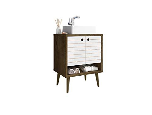 Manhattan Comfort Liberty Mid Century Modern 2 Shelves Bathroom Vanity with Sink, 23.62', Brown/White