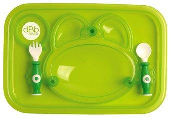 dBb Remond 217509 - Vassoio pasti + forchetta e cucchiaio, colore: Verde traslucido