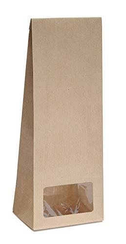 Blockbodenbeutel mit Sichtfenster - 500g - Größe 10,5 x 6 x 29 cm - Papiertüten Bodenbeutel Geschenktüte Papierbeutel Tütchen Kraftpapier (500g – mit Sichtfenster, 20 Stk. - OPP)